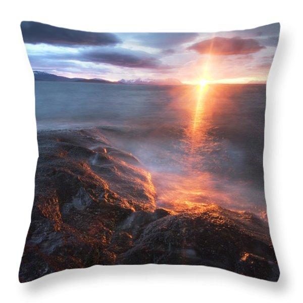 Midnight Sun Over Vågsfjorden Throw Pillow by Arild Heitmann