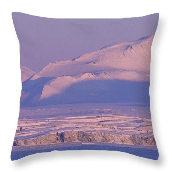 Midnight Sunlight On Polar Mountains Throw Pillow by Gordon Wiltsie