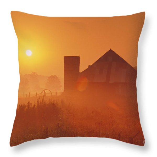 Midwestern Rural Sunrise - FS000405 Throw Pillow by Daniel Dempster