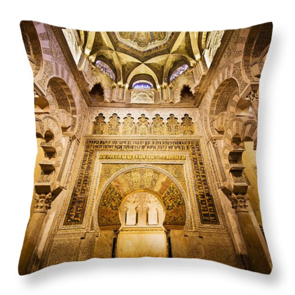 Mihrab And Ceiling Of Mezquita In Cordoba Throw Pillow by Artur Bogacki
