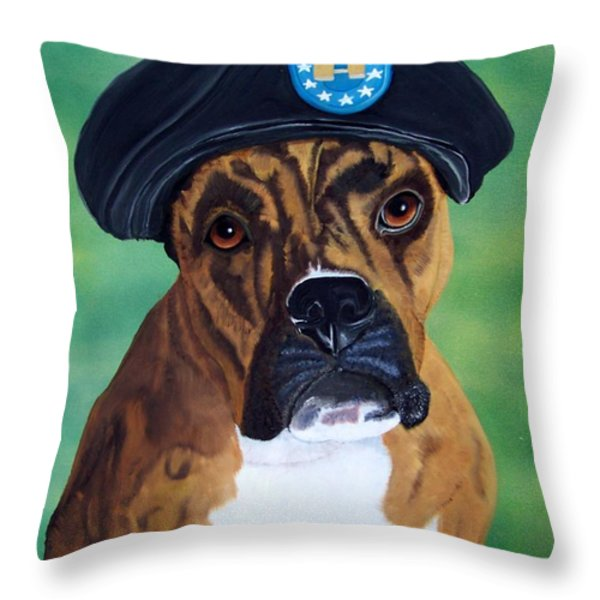 Military Boxer Throw Pillow by Debbie LaFrance