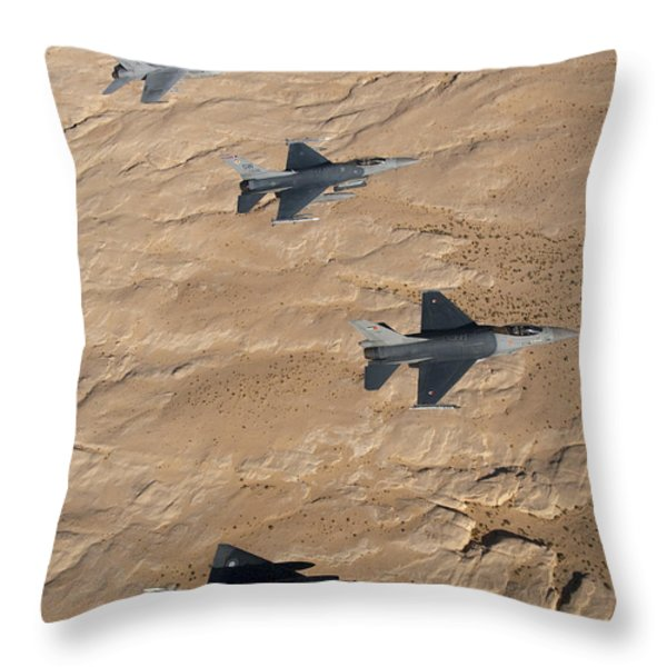 Military Fighter Jets Fly In Formation Throw Pillow by Stocktrek Images