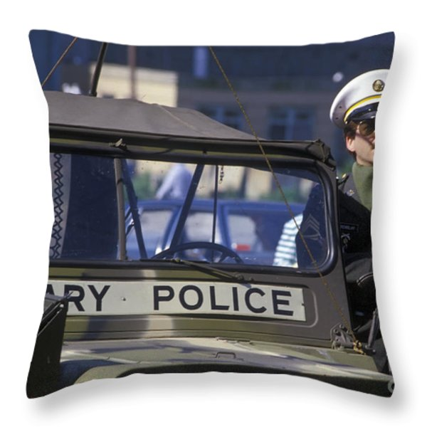 Military Policeman Stands Next Throw Pillow by Michael Wood