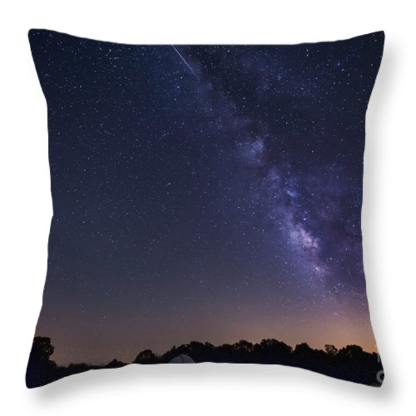 Milky Way And Perseid Meteor Shower Throw Pillow by John Davis