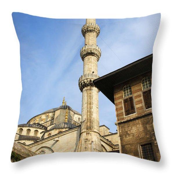 Minaret Of The Blue Mosque Throw Pillow by Artur Bogacki