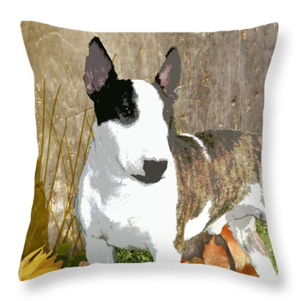 Minature Bull Terrier Throw Pillow by One Rude Dawg Orcutt