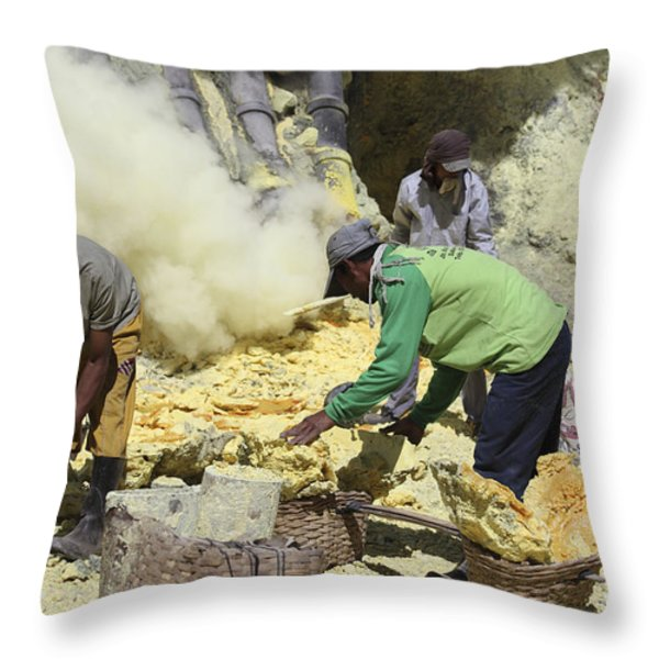 Miners Collecting Lumps Of Sulphur Throw Pillow by Richard Roscoe