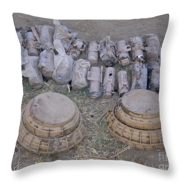 Mines And Grenades Throw Pillow by Stocktrek Images