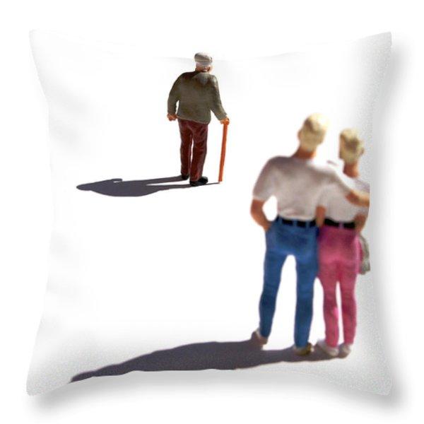 Miniature figurines couple watching elderly man Throw Pillow by BERNARD JAUBERT