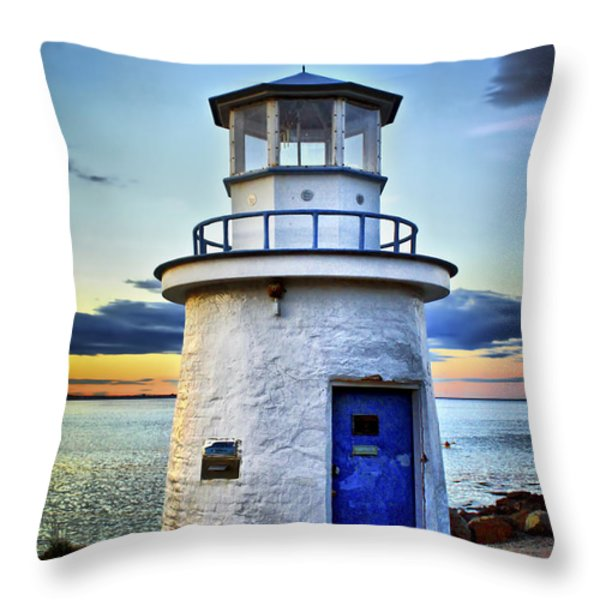 Miniature Lighthouse Throw Pillow by Evelina Kremsdorf