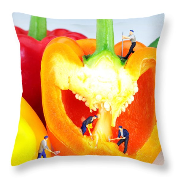 Mining in colorful peppers Throw Pillow by Paul Ge