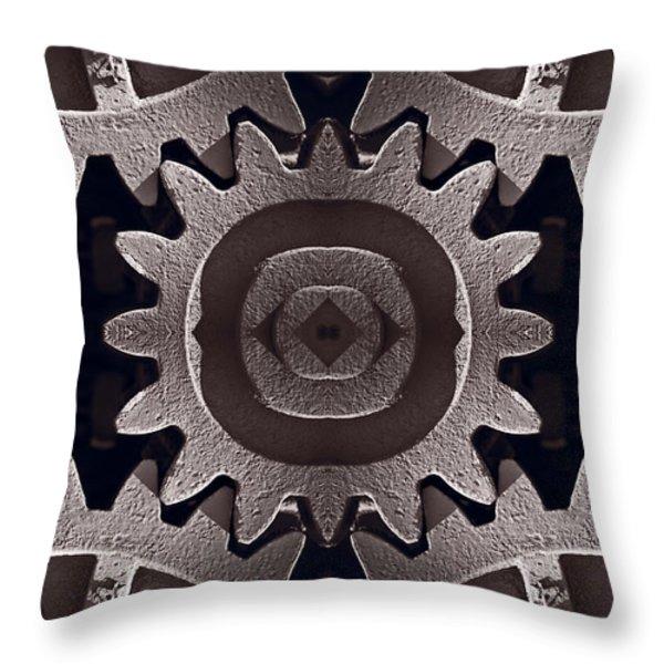 Mirror Gears Throw Pillow by Steve Gadomski