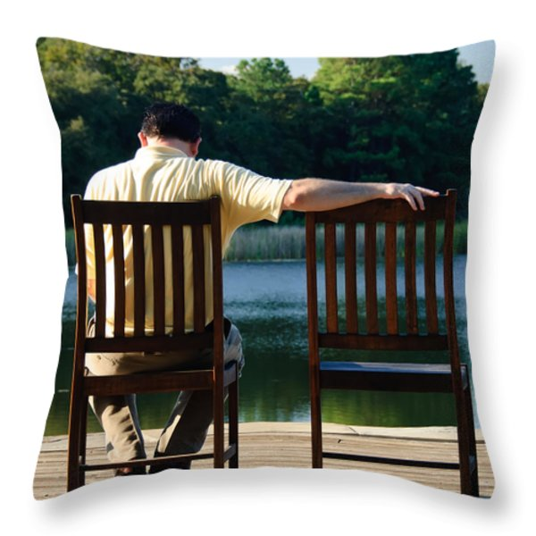 Missing Her Throw Pillow by Charles Dobbs