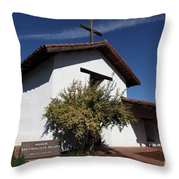 Mission Francisco Solano - Downtown Sonoma California - 5d19298 Throw Pillow by Wingsdomain Art and Photography