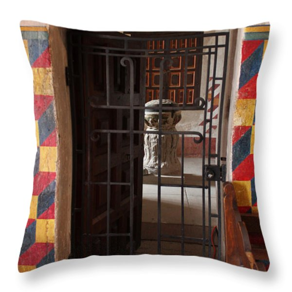 Mission San Xavier Del Bac - Inner Sanctuary Throw Pillow by Suzanne Gaff