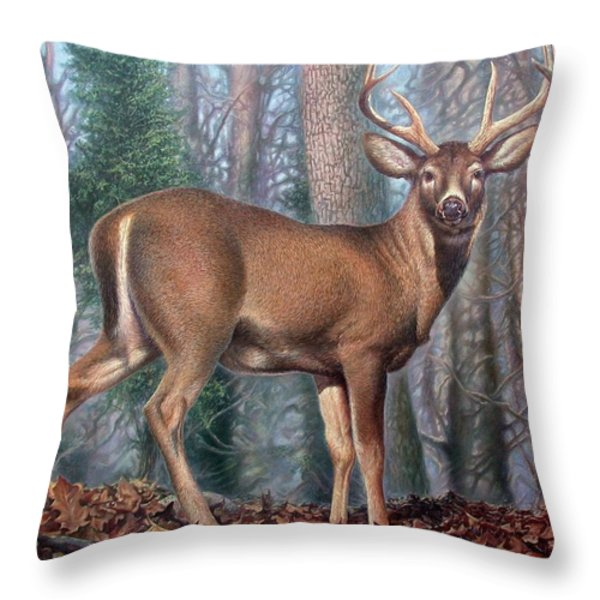 Missouri Whitetail Deer Throw Pillow by Hans Droog