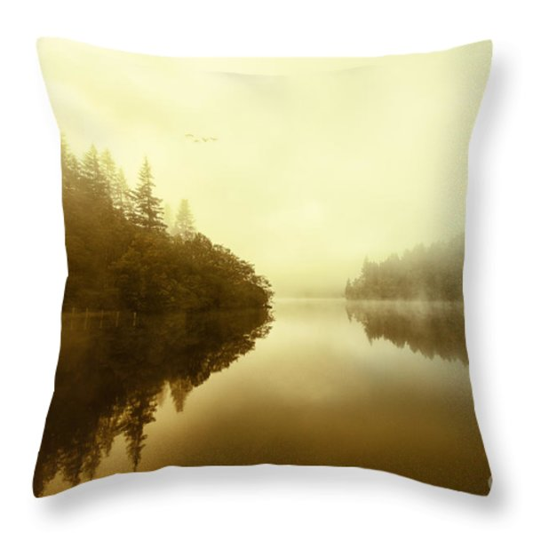 Mist across the water Loch Ard Throw Pillow by John Farnan