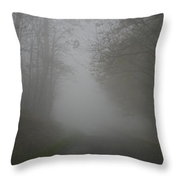 Mist Fog And The Road Throw Pillow by Nomad Art And  Design