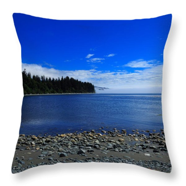 Mist On The Sea At Jordan River Throw Pillow by Louise Heusinkveld