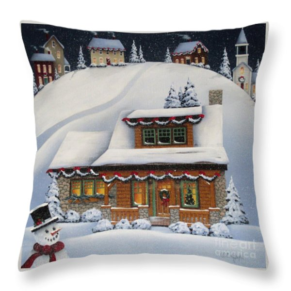 Mistletoe Cottage Throw Pillow by Catherine Holman