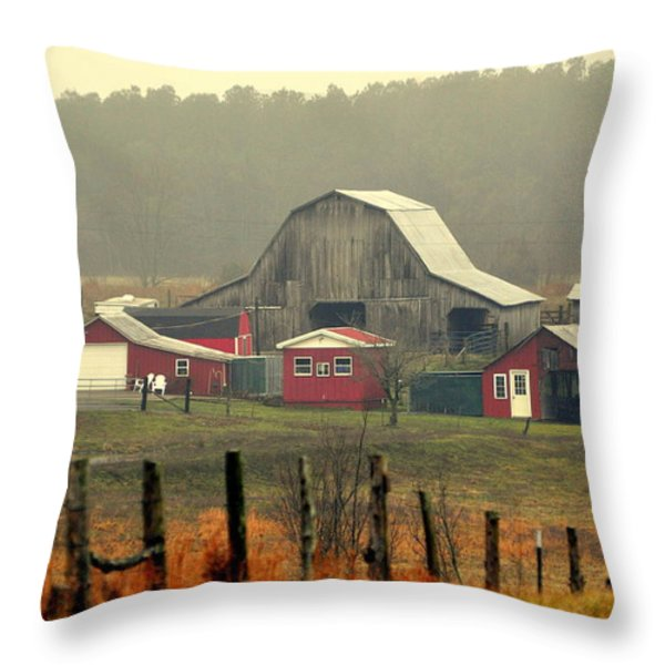 Misty Barn Throw Pillow by Marty Koch