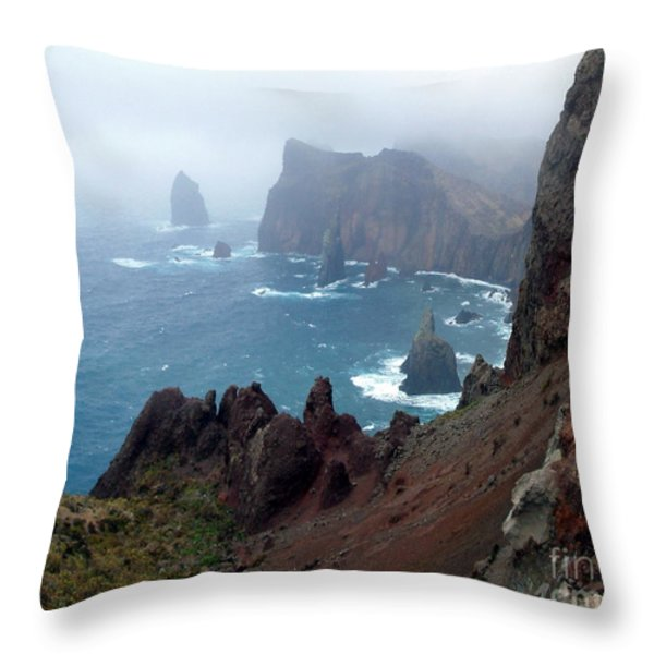 Misty Cliffs Throw Pillow by John Chatterley
