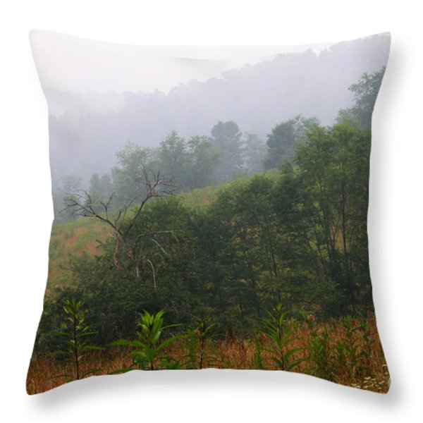 Misty Morning on the Farm Throw Pillow by Thomas R Fletcher