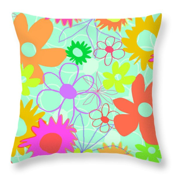 Mixed Flowers Throw Pillow by Louisa Knight
