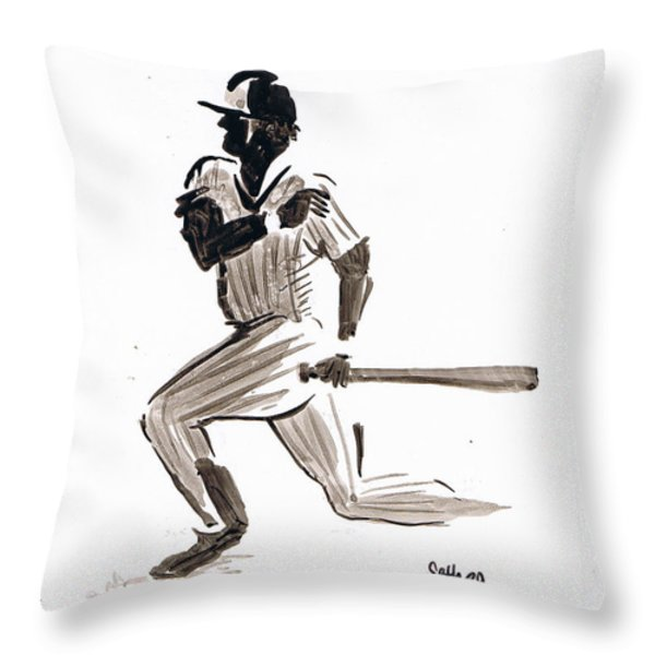 Mlb Base Hit Throw Pillow by Seth Weaver