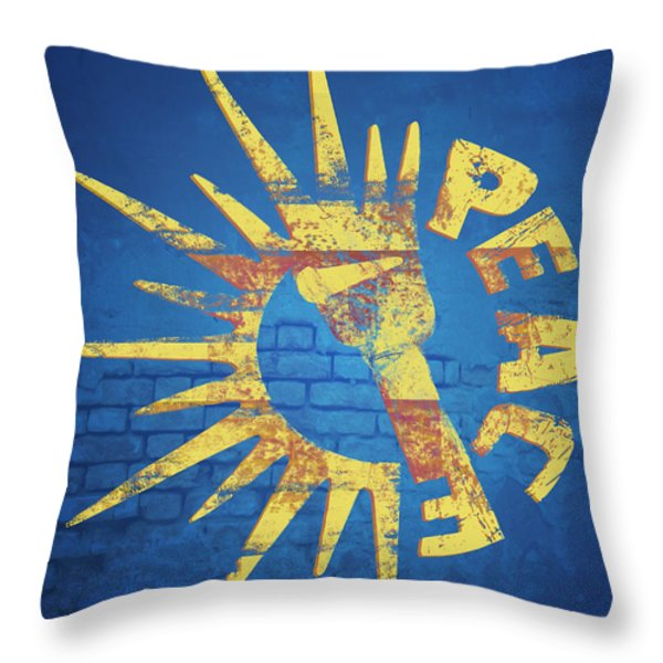 Moar Peace Throw Pillow by Laura Brightwood