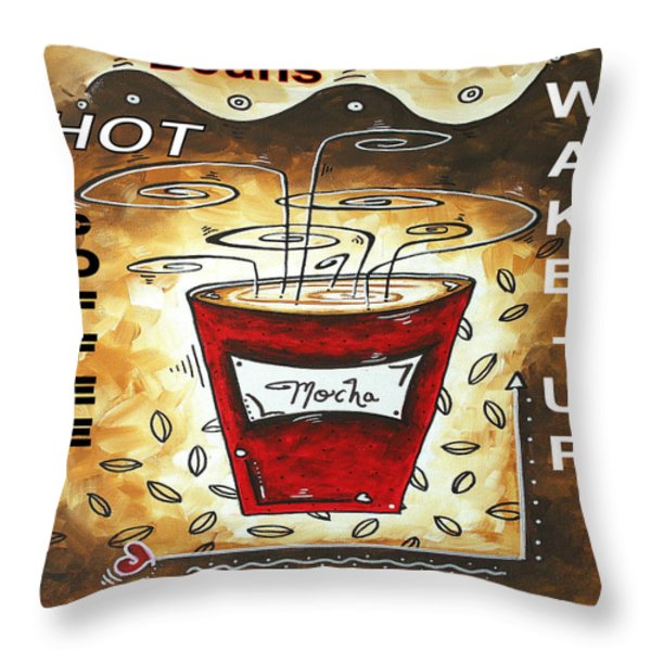 Mocha Beans Original Painting MADART Throw Pillow by Megan Duncanson