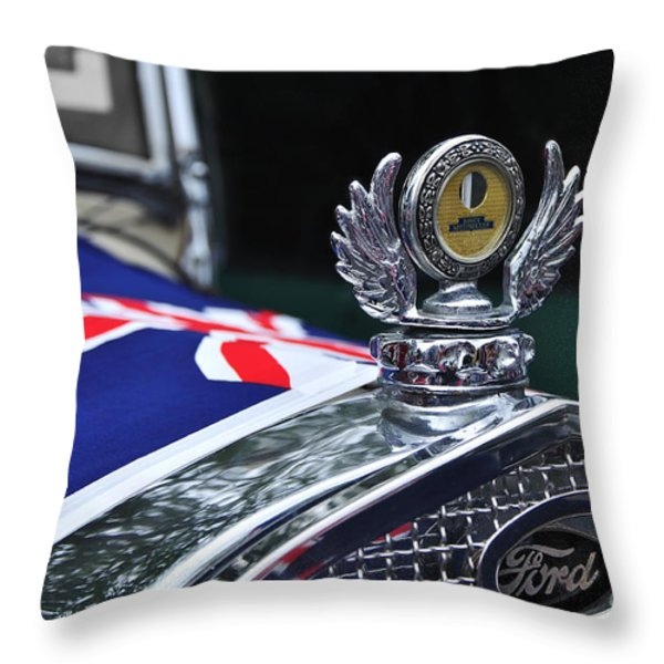 Model A Ford - Hood Ornament And Badge Throw Pillow by Kaye Menner