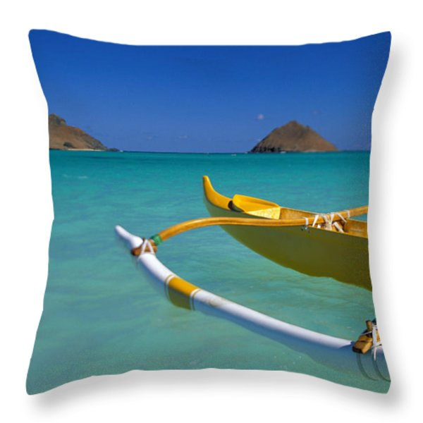 Mokulua Islands, Outrigger Throw Pillow by Dana Edmunds - Printscapes