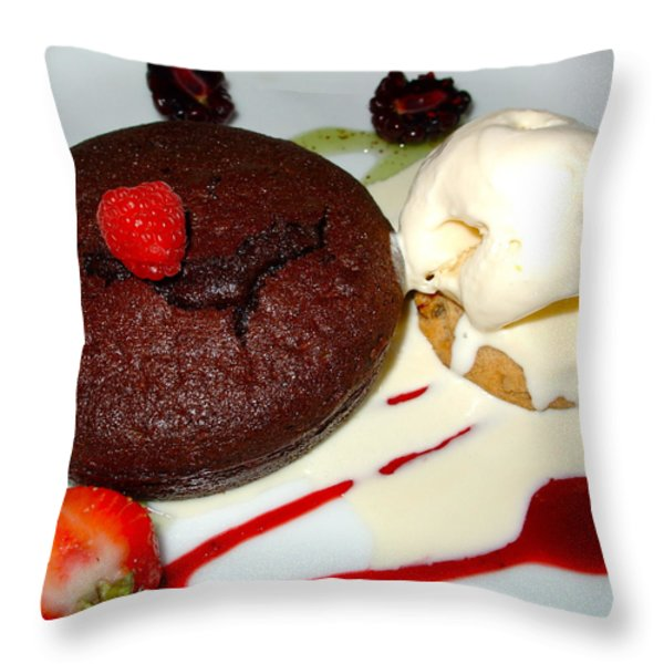 Molten Chocolate Lava Cake Throw Pillow by Karon Melillo DeVega