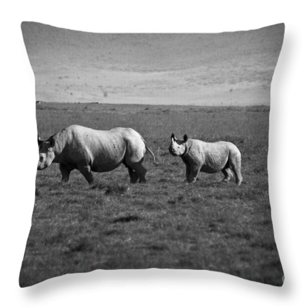 Mom And Child Black Rhinos Throw Pillow by Darcy Michaelchuk