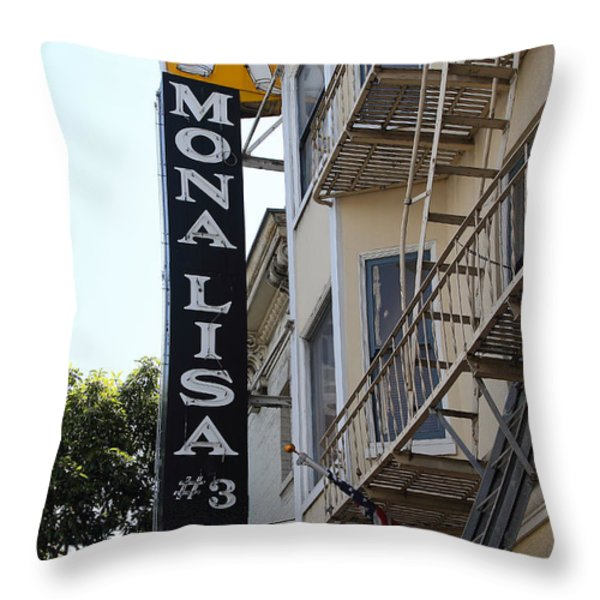 Mona Lisa Restaurant In North Beach San Francisco Throw Pillow by Wingsdomain Art and Photography