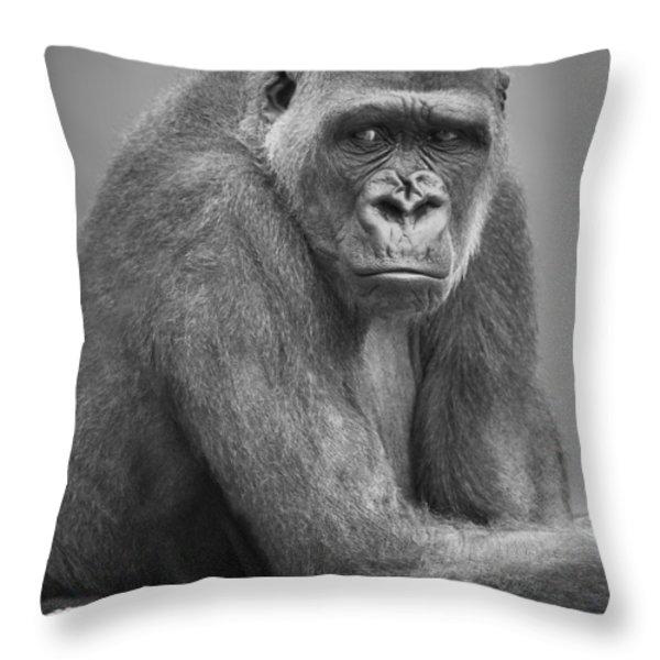 Monkey Throw Pillow by Darren Greenwood