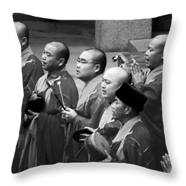 Monks Chanting - Jing'an Temple Shanghai Throw Pillow by Christine Till