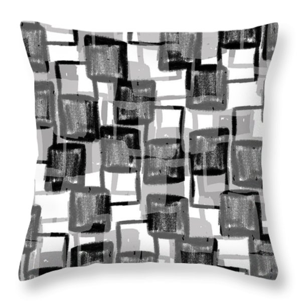 Monochrome Squares Throw Pillow by Louisa Knight