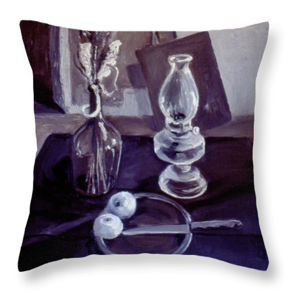 Monotone Still Life 1977 Throw Pillow by Nancy Griswold