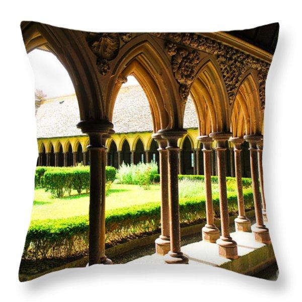 Mont Saint Michel Cloister Throw Pillow by Elena Elisseeva