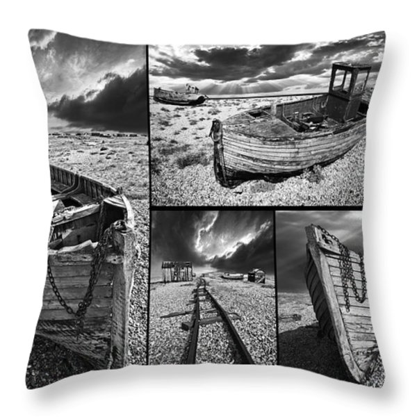 montage of wrecked boats Throw Pillow by Meirion Matthias