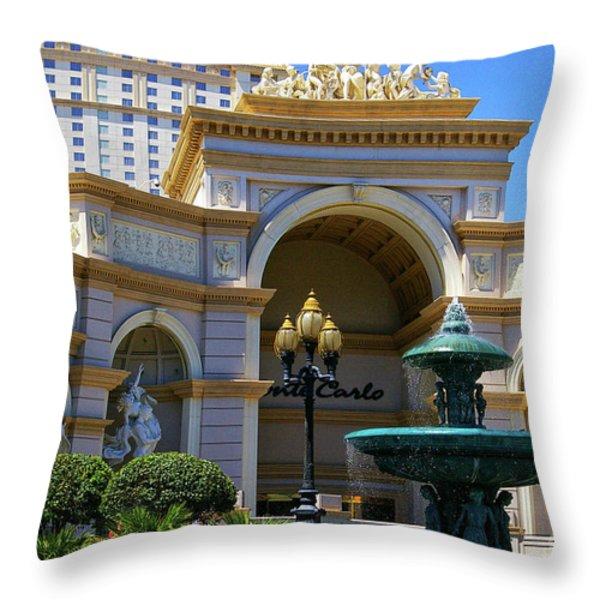 Monte Carlo Casino Resort Throw Pillow by Mariola Bitner