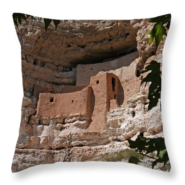 Montezuma Castle Cliff Dwellings In The Verde Valley Of Arizona Throw Pillow by Elizabeth Rose