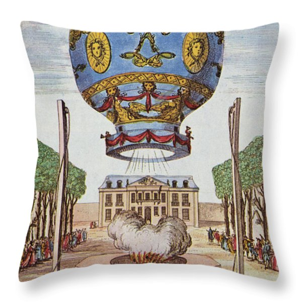 Montgolfier Hot Air Balloon Throw Pillow by Science Source