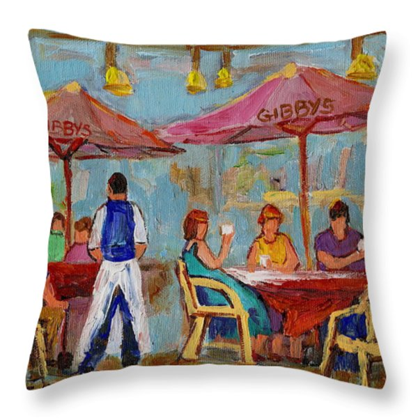 MONTREAL OUTDOOR TERRACE CAFE CITY SCENE Throw Pillow by CAROLE SPANDAU