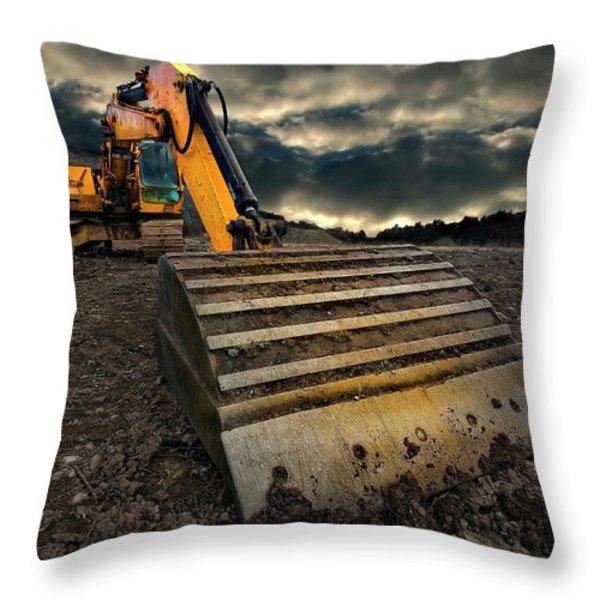 moody excavator Throw Pillow by Meirion Matthias