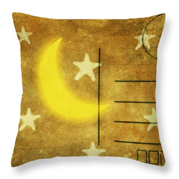 moon and star postcard Throw Pillow by Setsiri Silapasuwanchai