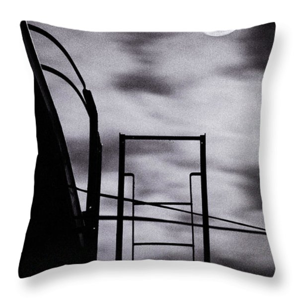 Moon Over Brooklyn Rooftop Throw Pillow by Gary Heller