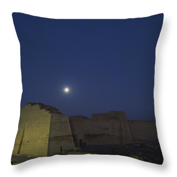Moon Over Medinet Habu, The Temple Throw Pillow by Kenneth Garrett